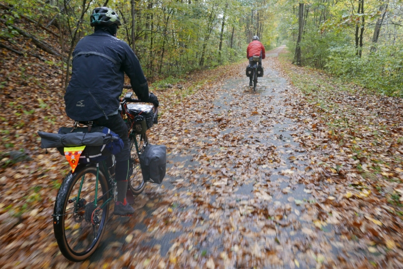 Lots of rain and leaves on this part of the trip