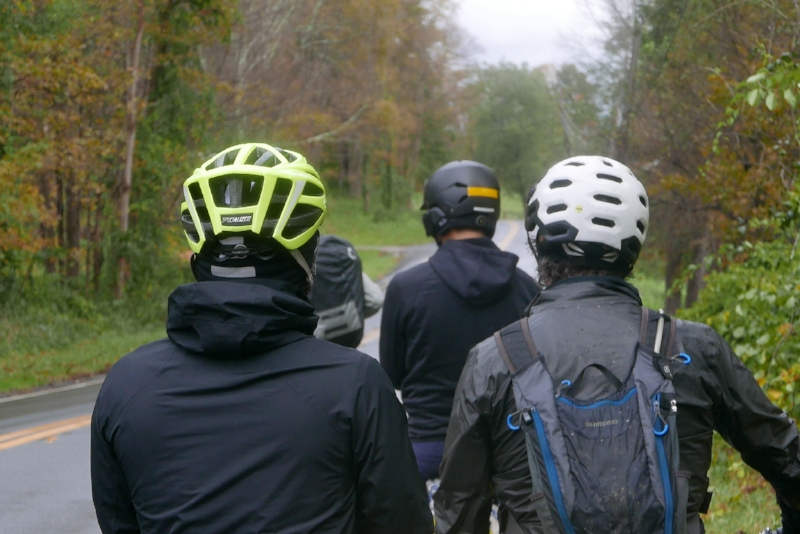 Group waiting near Sheffield, MA for riders who had a flat behind main group.
