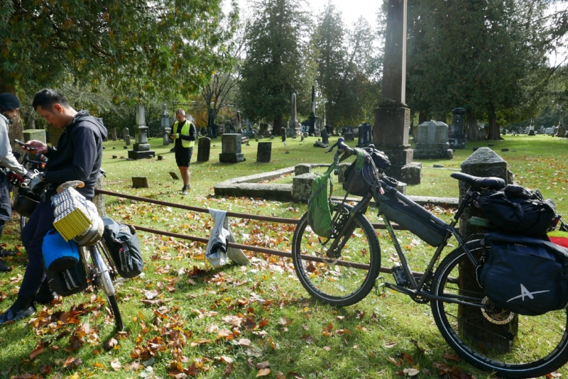 A team break at the Sheffield , MA cemetery