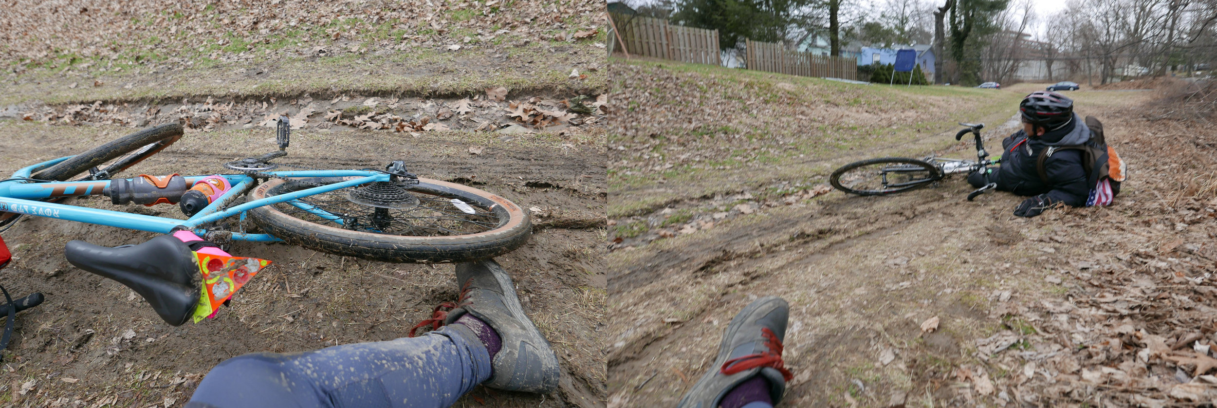 Man (men) Down! Scenes of a double muddy spill. On the trail, your choices were to ride in the muddy center rut, or take your changes on the off-camber slick grass/ice/fallen leaves on the sides of the trail.