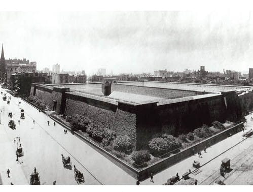 Croton Reservoir, at what is now Bryant Park (behind the NY Public Library), Manhattan. Photo from bryantpark.org.