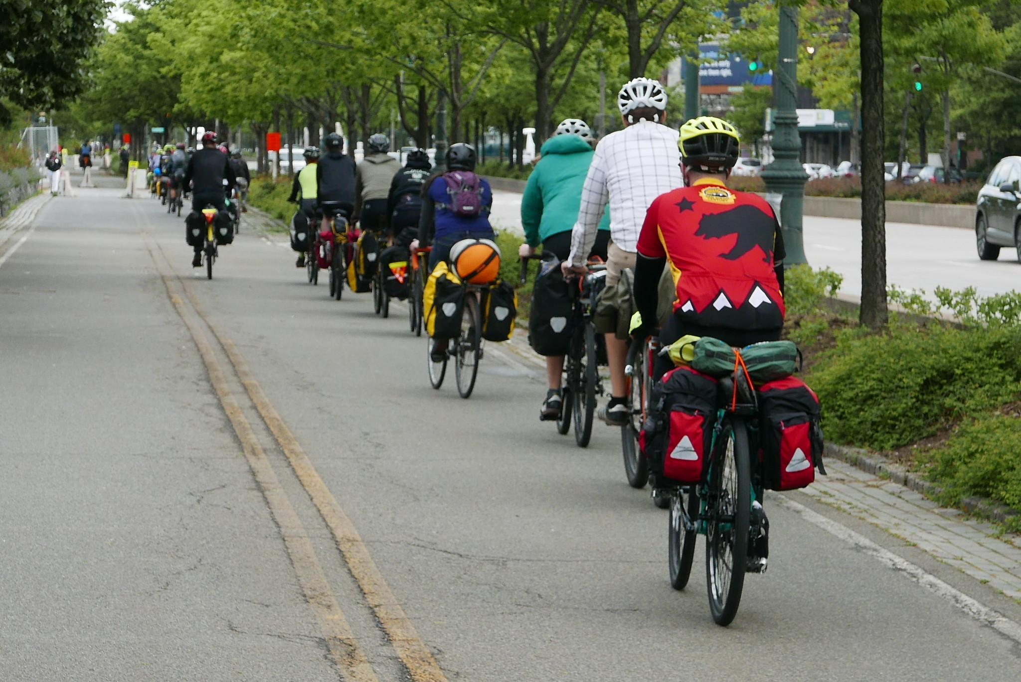 The group headed north on Manhattan's Hudson River Greenway