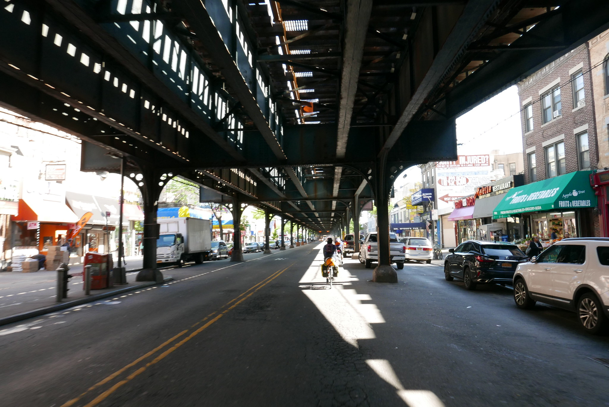 After leaving Manhattan, the group snakes its way under the elevated subways in the Bronx