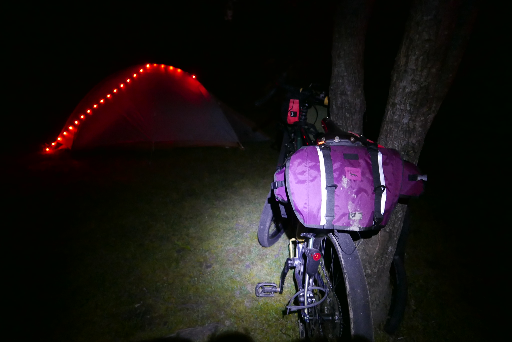 I got these lights form big Agnes, so we had to try them out. Chombo lamented that it gave away our position to the enemy.