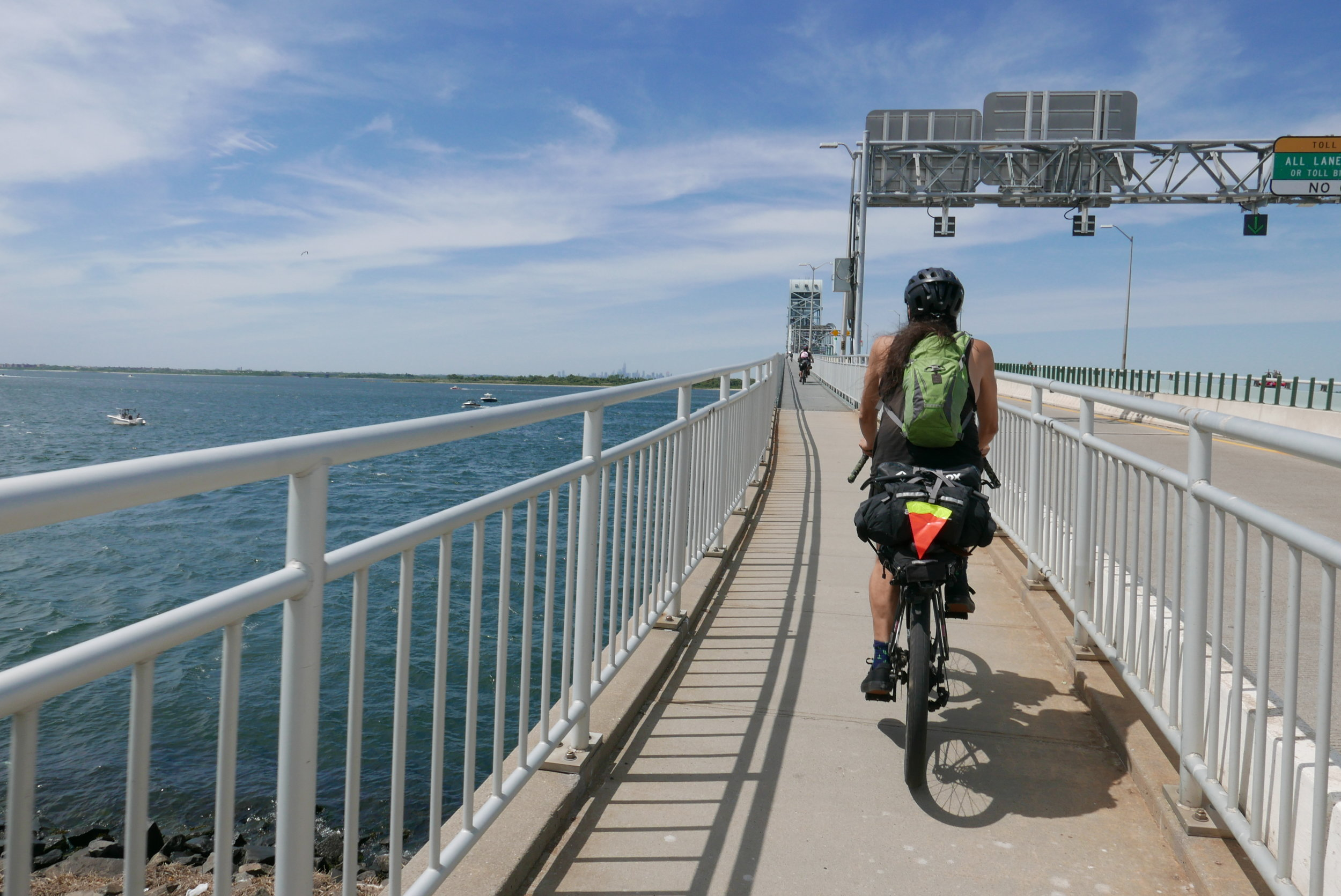 Up and over the Gil Hodges Bridge, looping back around north to Floyd Bennett Field