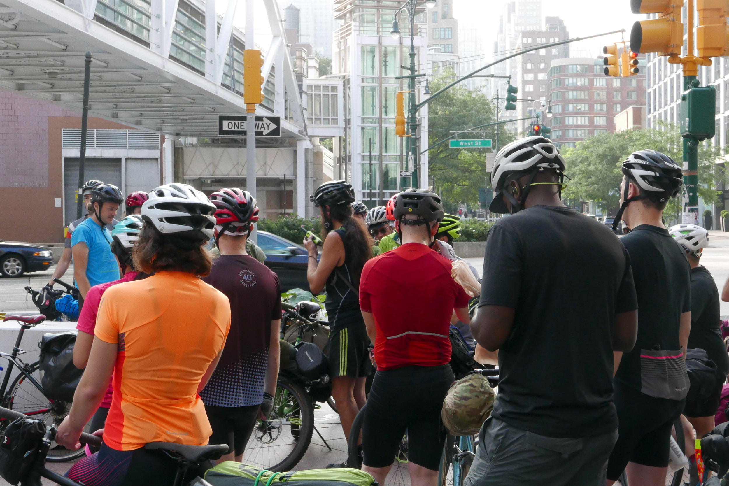 The group meets at the start point in Lower Manhattan, 42 riders in all.