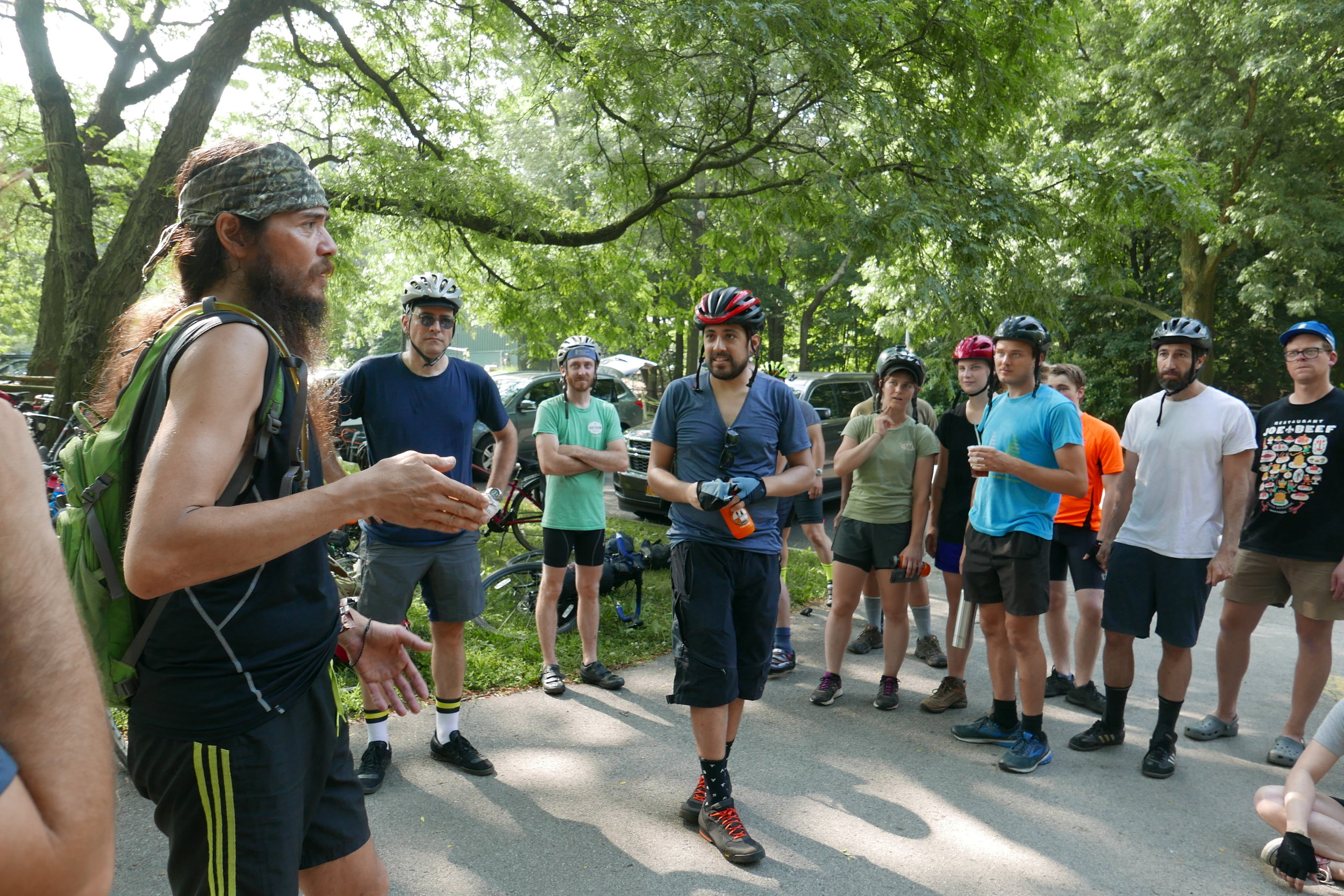 At Mile 14, the group has a mandatory stop at Van Cortland Park in the Bronx so that we can regroup