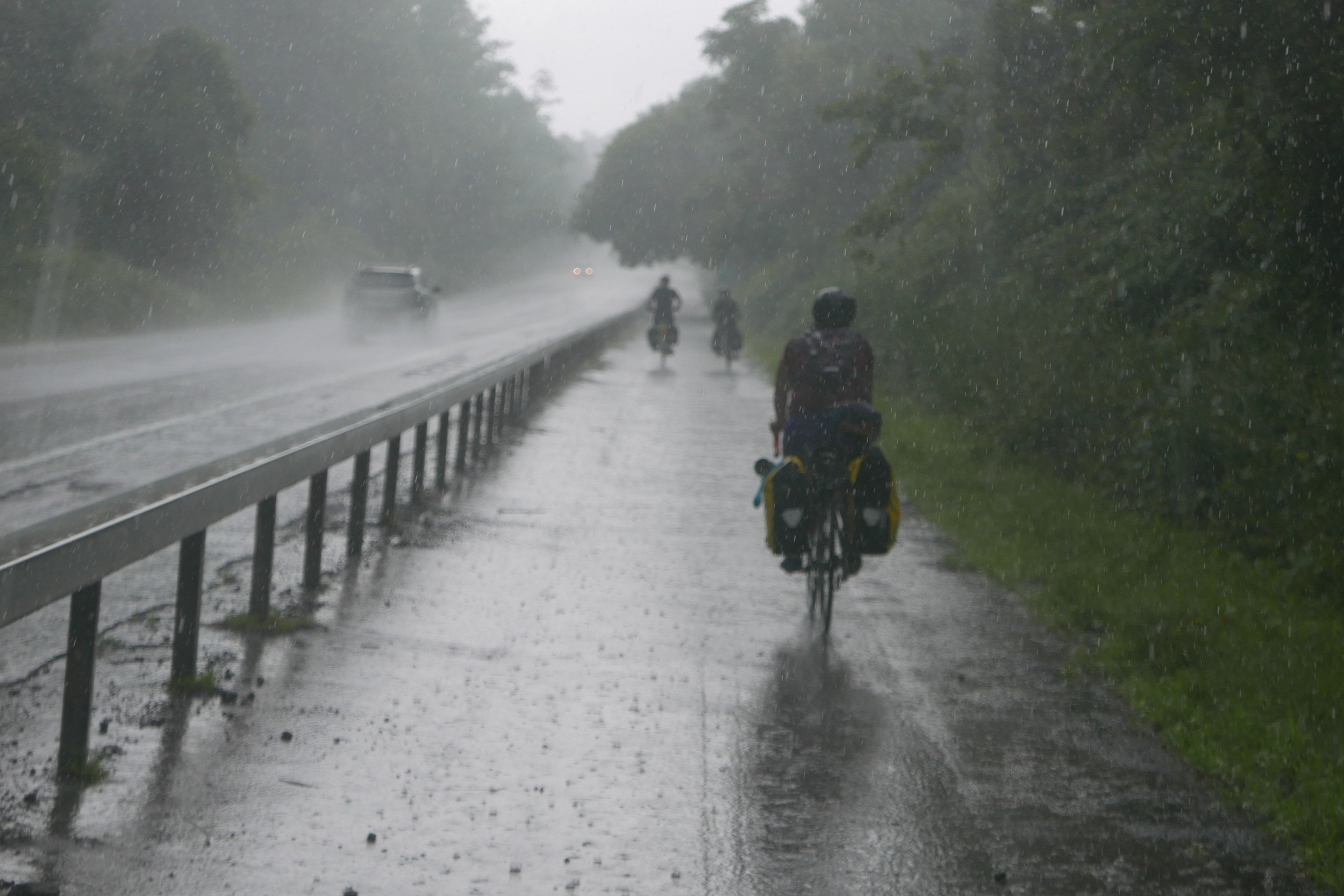 Between Miles 35 and 42, the group ran into the first of 2 storms