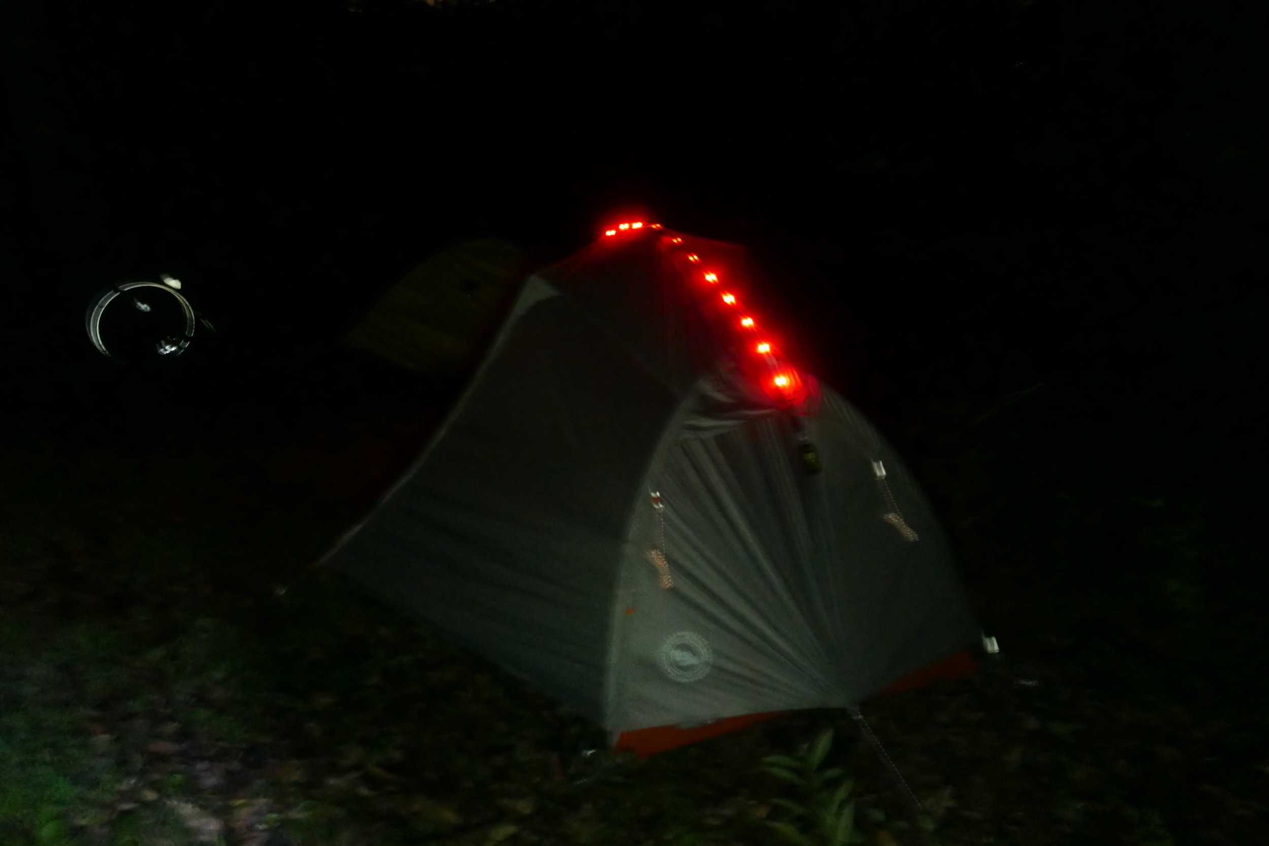 I put these Big Agnes lights on my Big Agnes tent so that I can be found in the middle of the night to provide any assistance.
