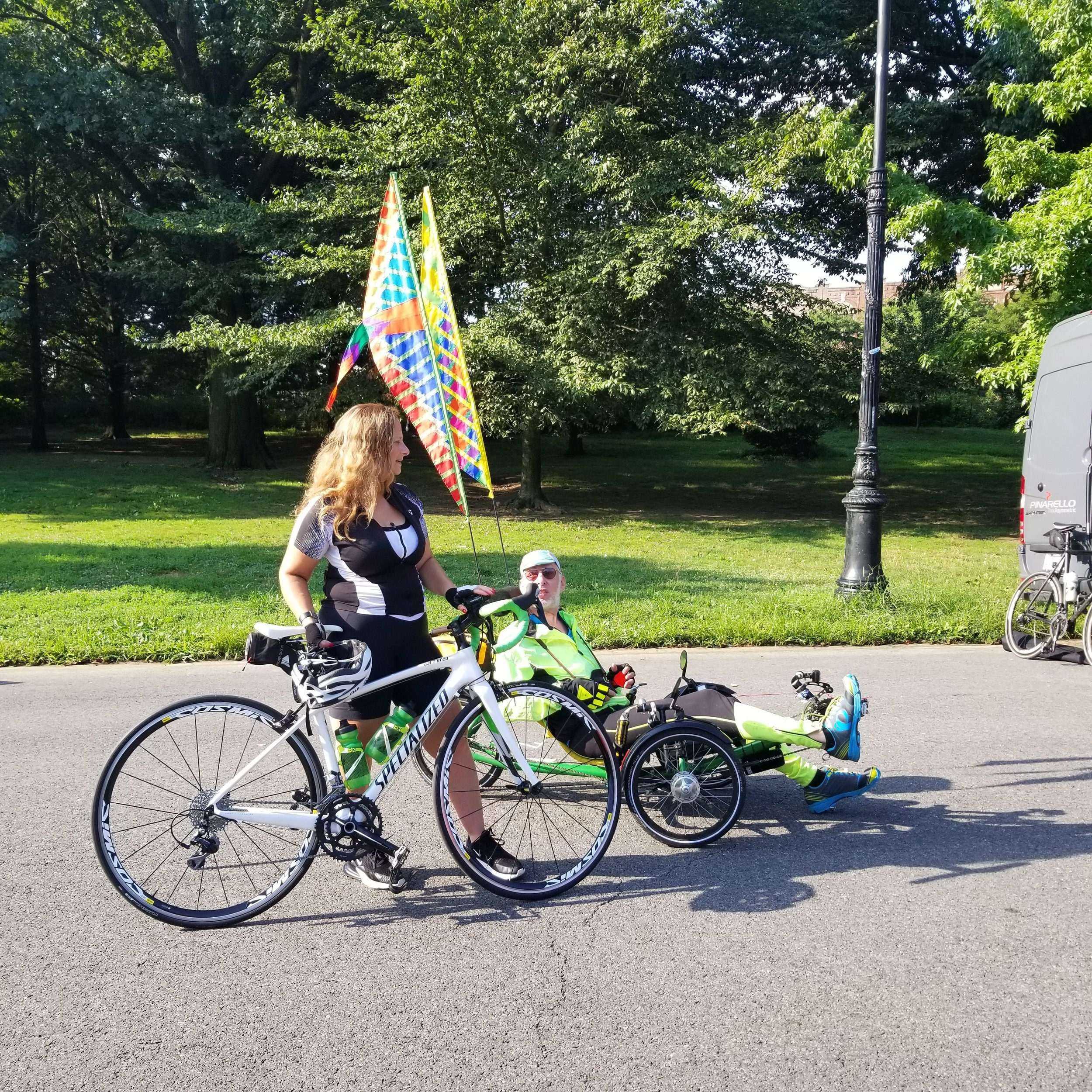 What I have learned about recumbent trikers, is they never miss an opportunity to educate pedestrians and other cyclists