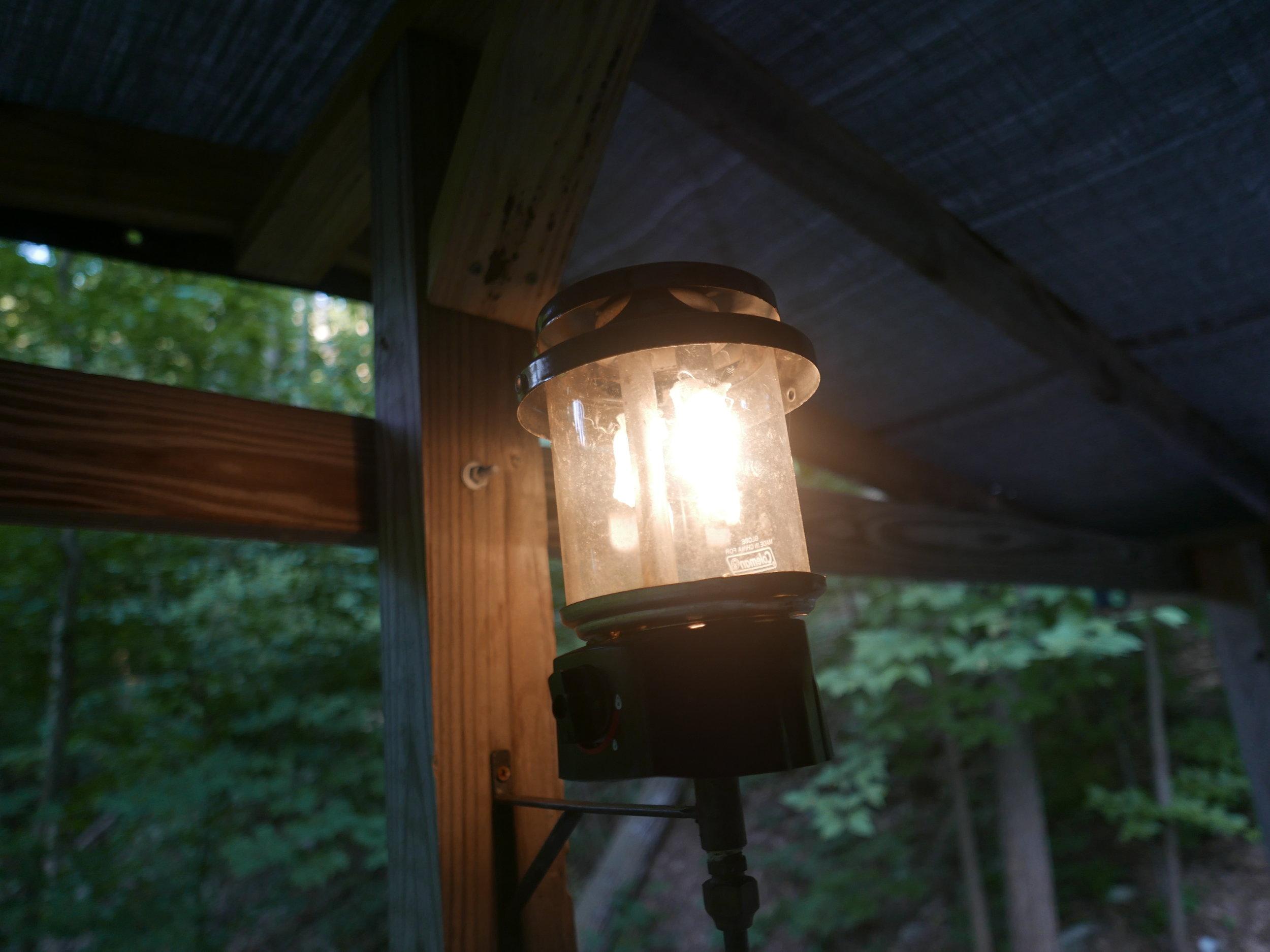 Propane lantern at site