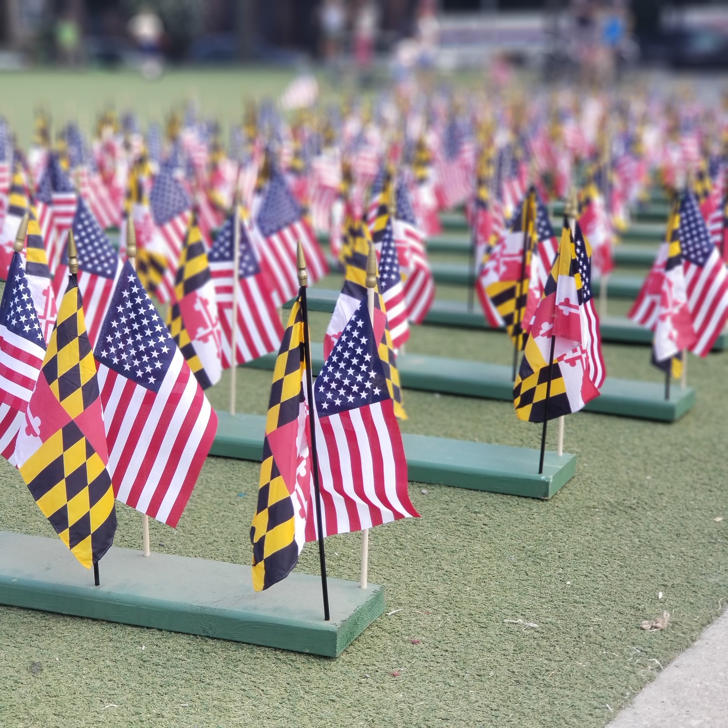 Maryland/US Flag display, commemorating the Maryland 400 at the Old Stone House