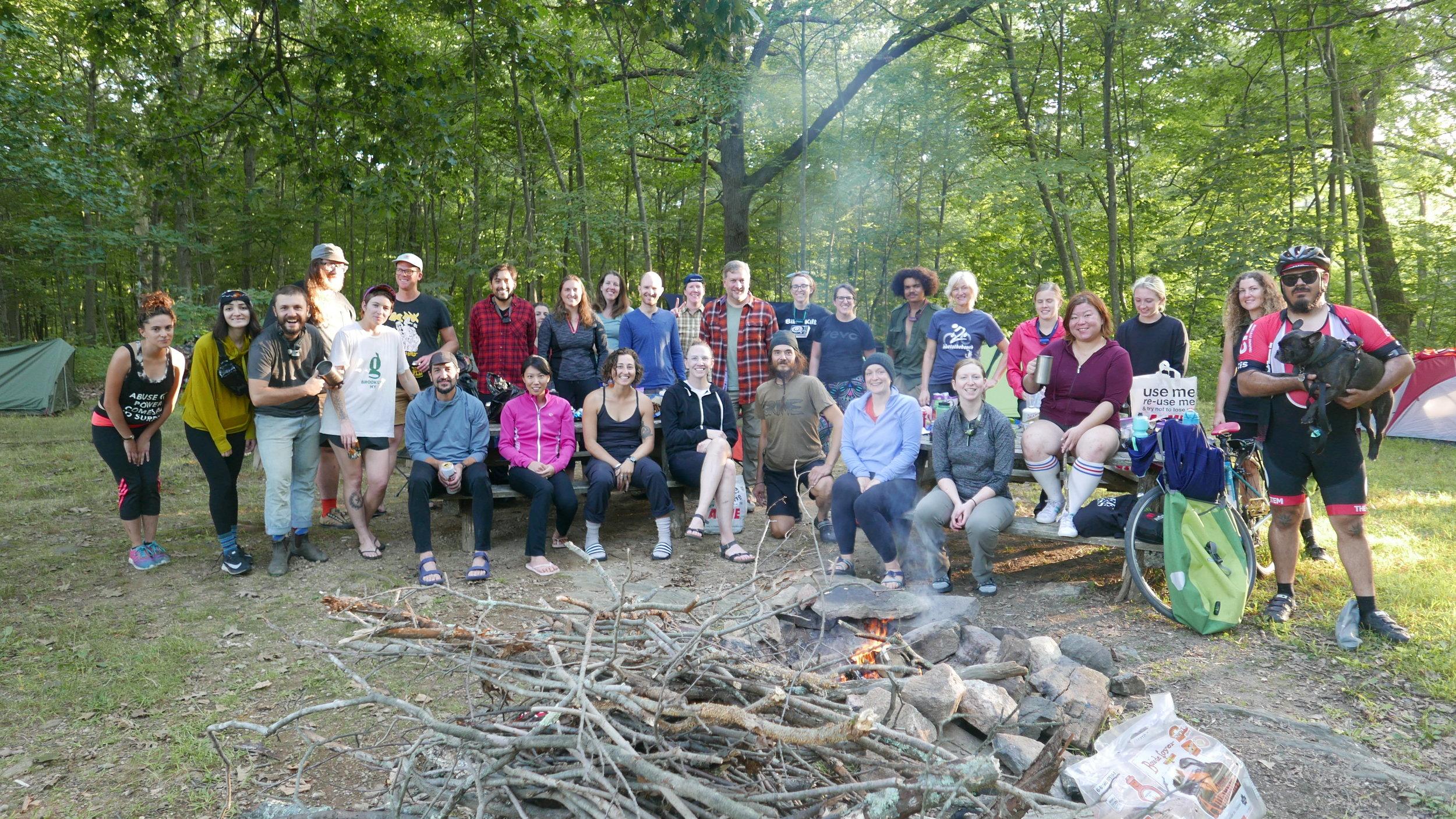 Campsite crew..32 folks, 2 dogs