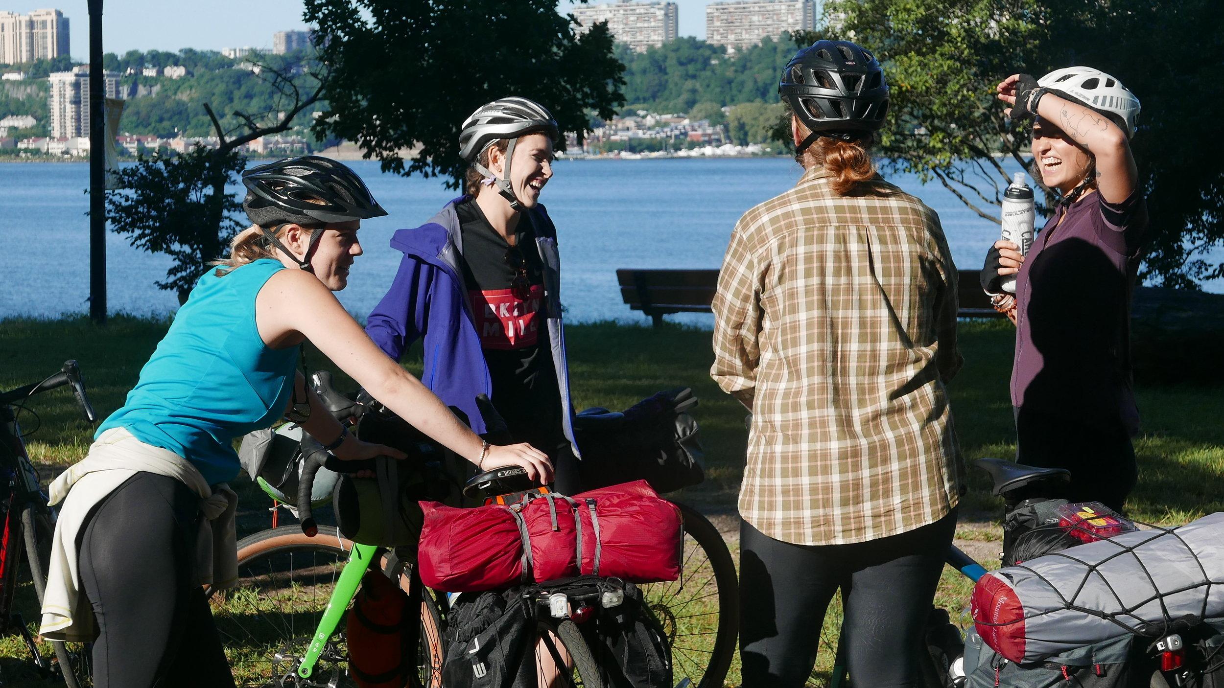 Pit stop near the George Washington Bridge on the Hudson River Greenway