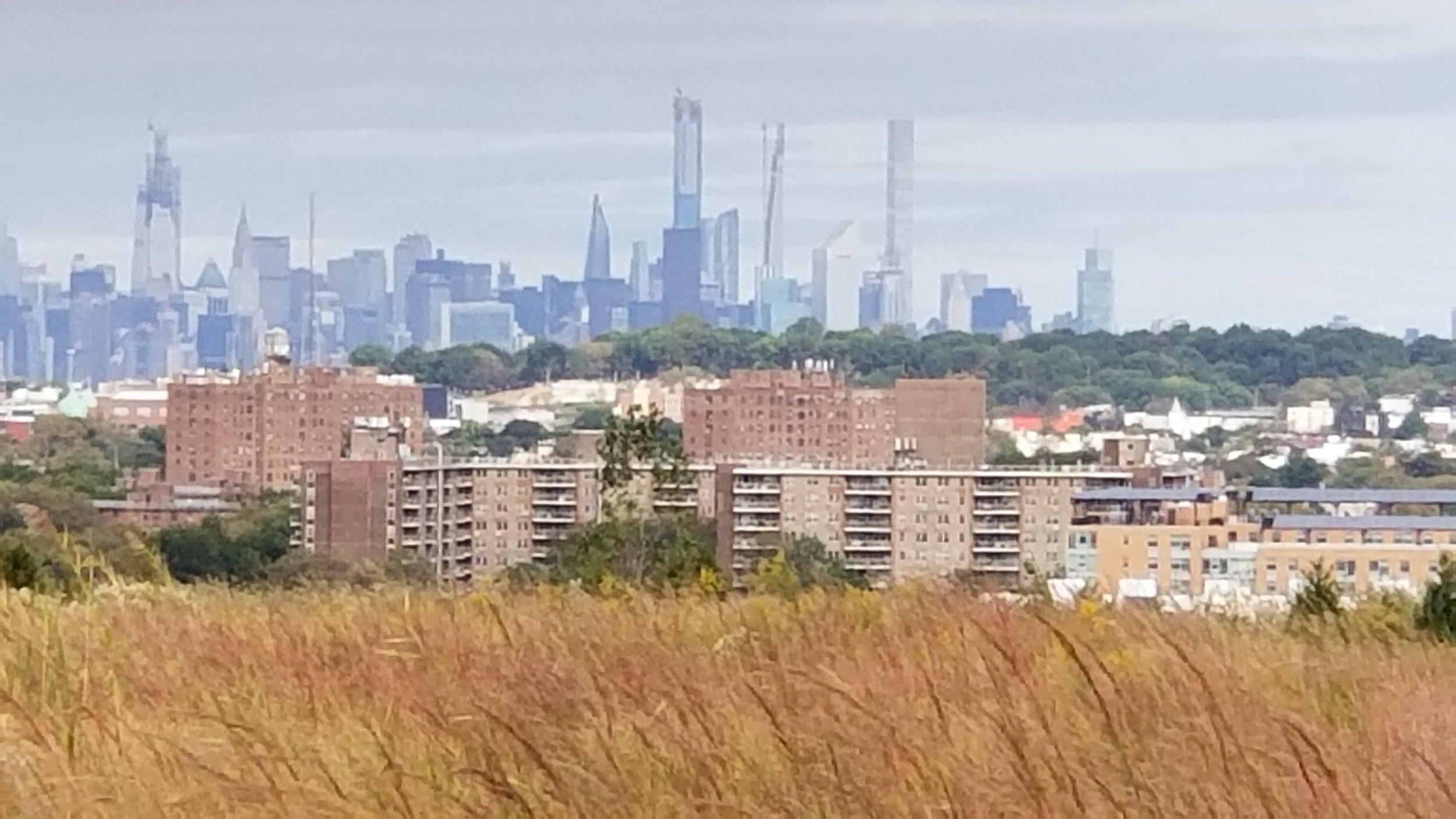 The Manhattan skyline in the distance