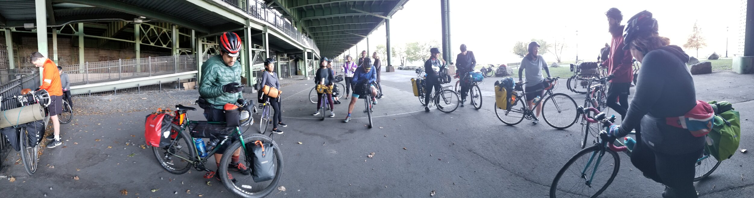 Gathering up the group off of the Hudson River Greenway to head up the pedestrian ramps at 158th Street