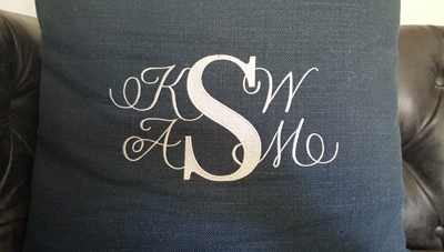 Monogram embroidered on pillow