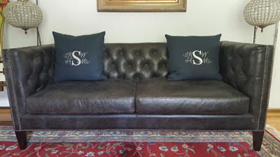 Monogram embroidered on pillows