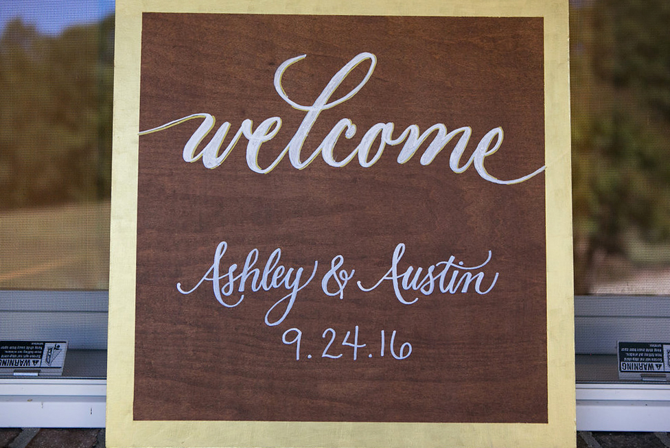 "Welcome Sign: 18"" x 18"". Hand painted and stained."