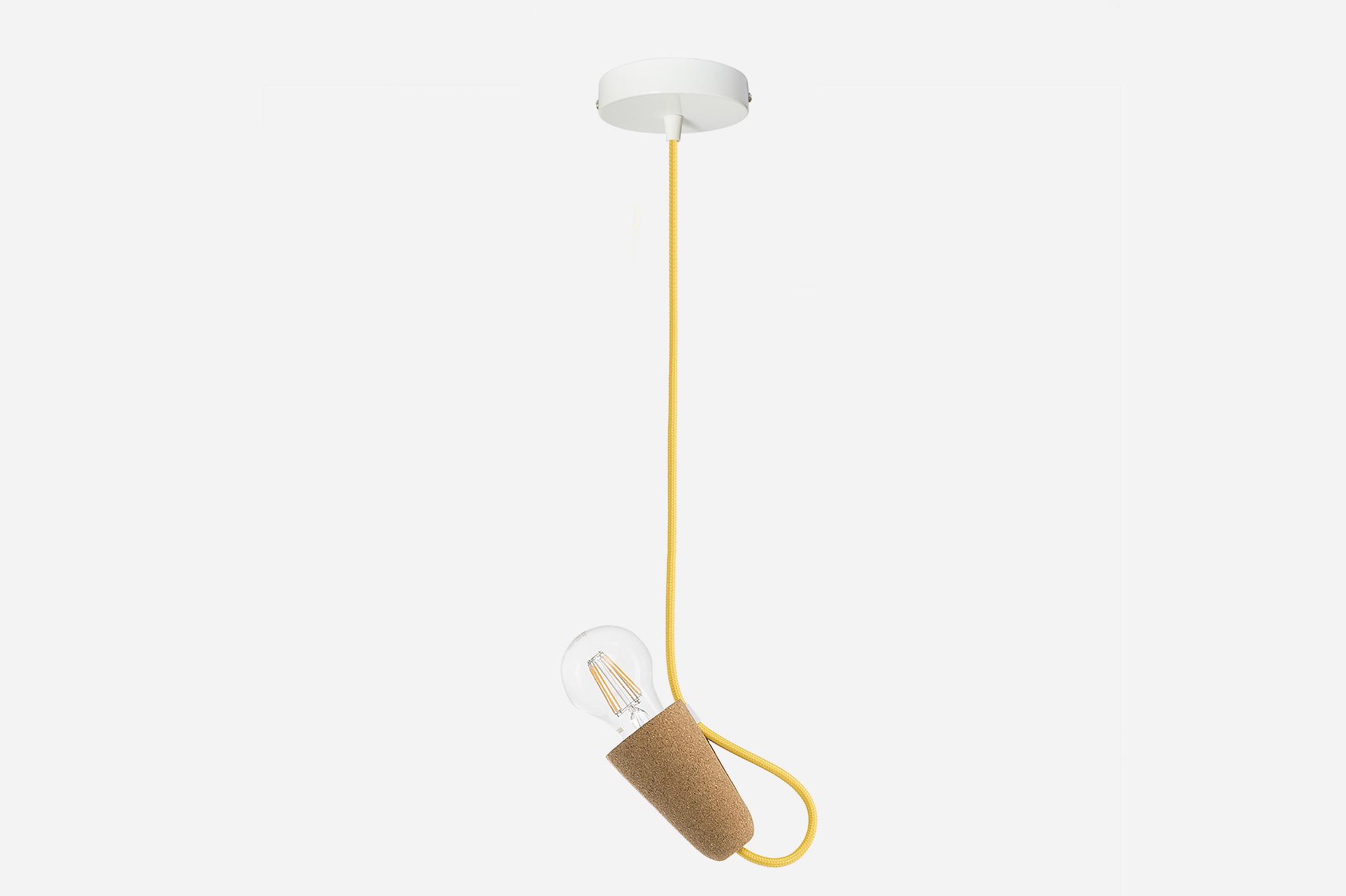 Galula | Sininho pendant lamp, light cork and yellow textile cable