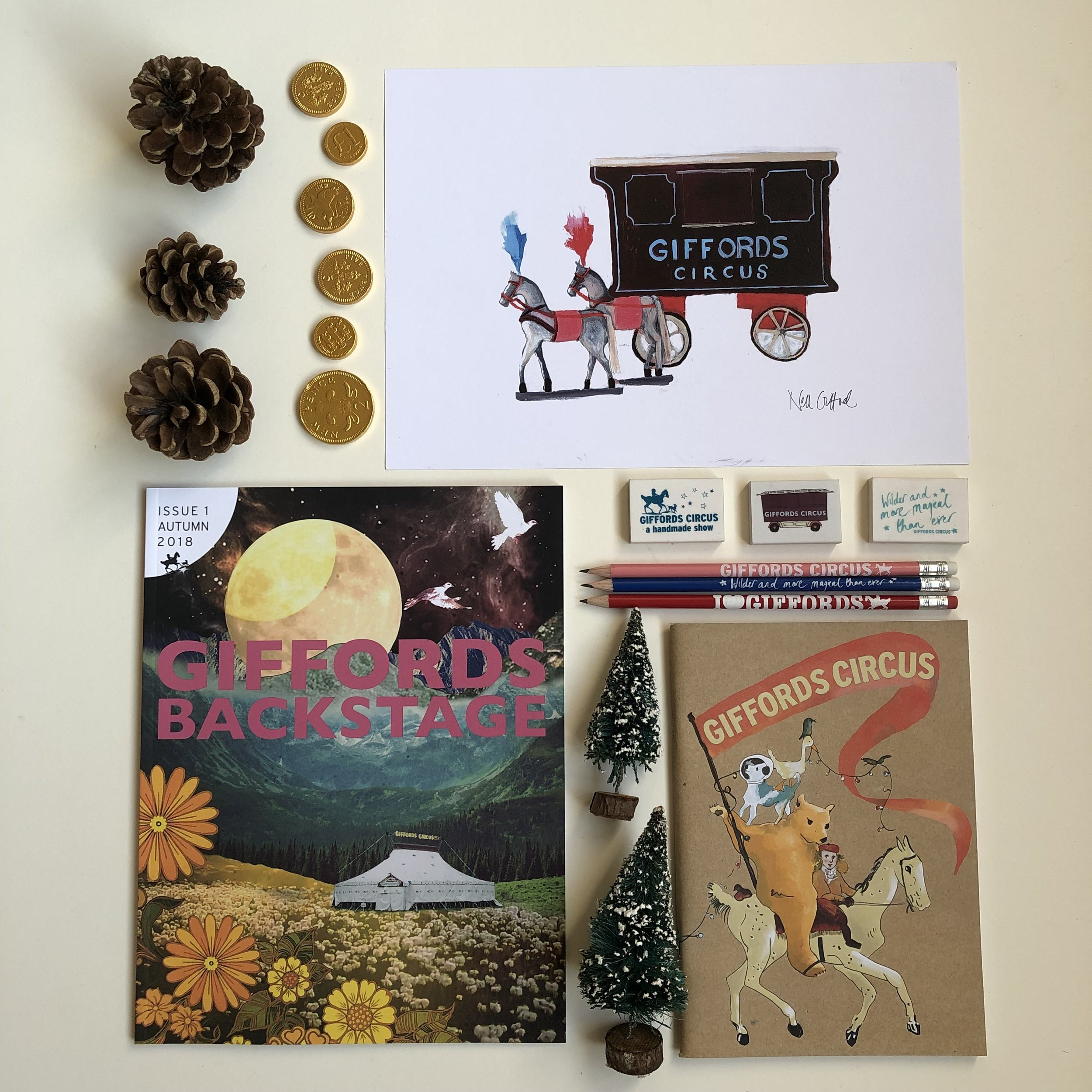 Our new independently published and limited edition Backstage magazine, makes a great gift, along with a wagon print, notebook and pencil.