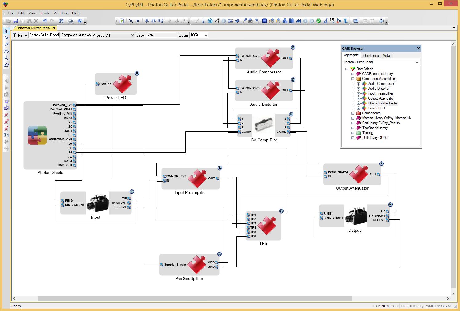 Fig. 7:The final Photon Guitar Pedal design in the MetaMorph Desktop Tools.