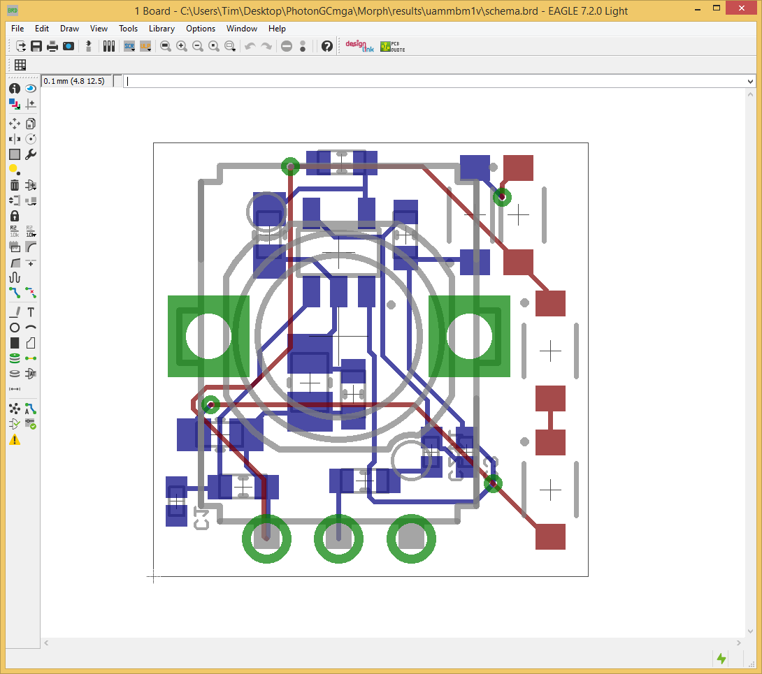 Fig. 11:Here is the completed preroute of the Distortion Subcircuit in Eagle.
