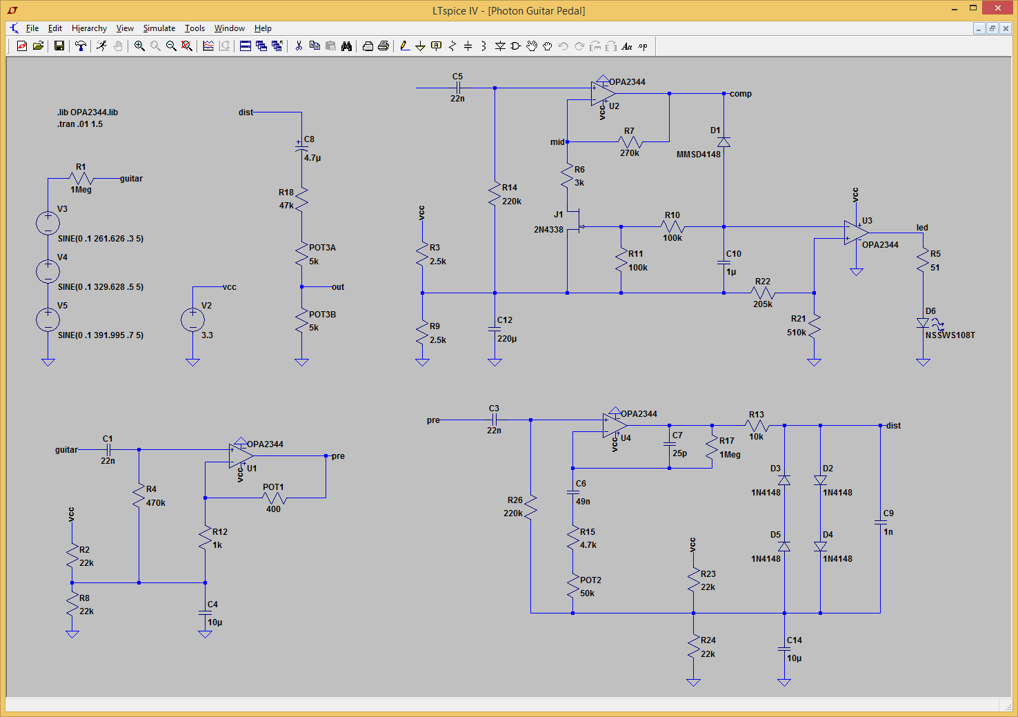 Fig. 6: Final design of the Photon Guitar Pedal in LTspice.