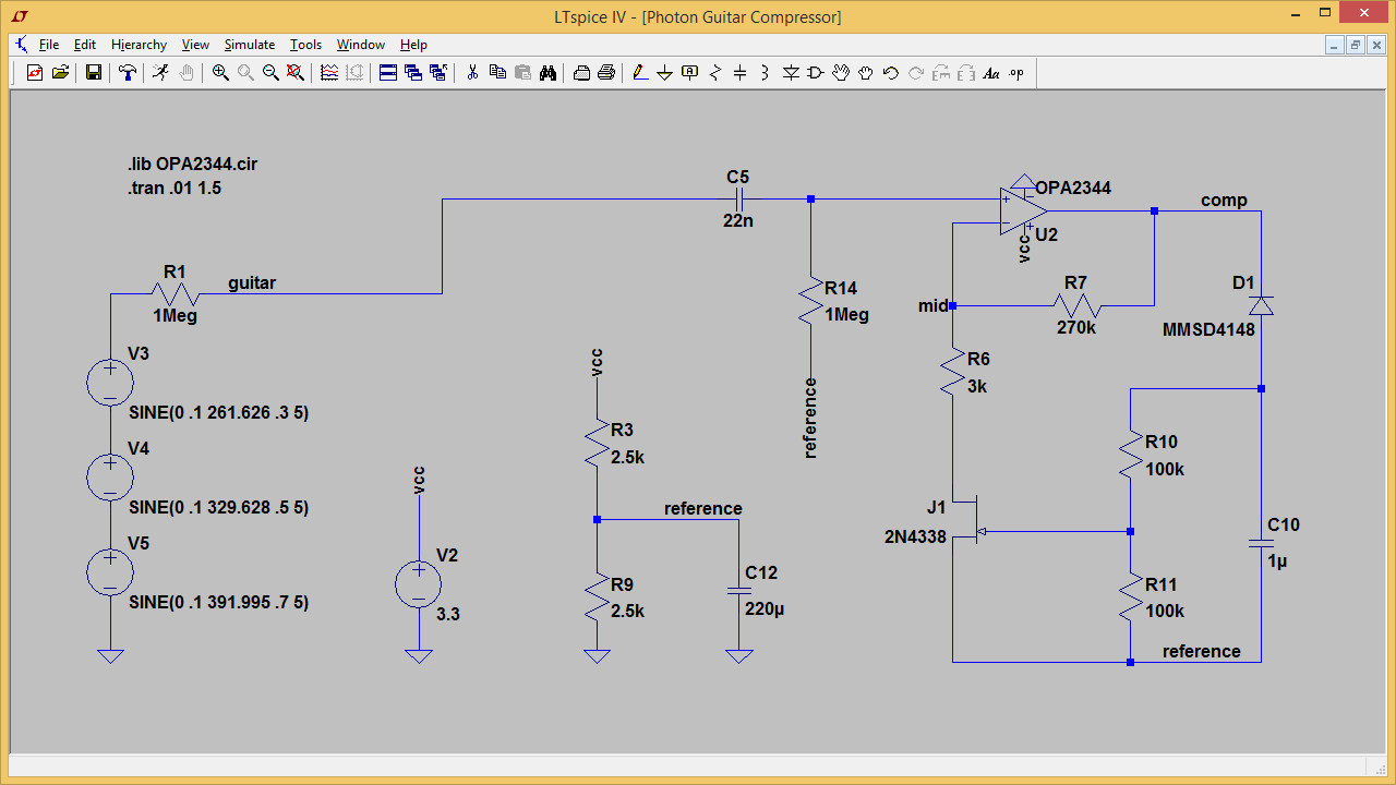 Fig. 4: The Photon Guitar Compressor project modeled in LTSpice.