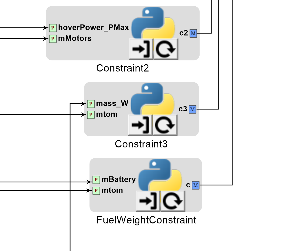 Fuel weight constraint function added as Python wrapper component    Source:   metamorph, inc.