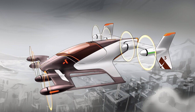 early conceptual sketch of Vahana tilt-wing aircraft    Source  :  A^3 Welcome to vahana
