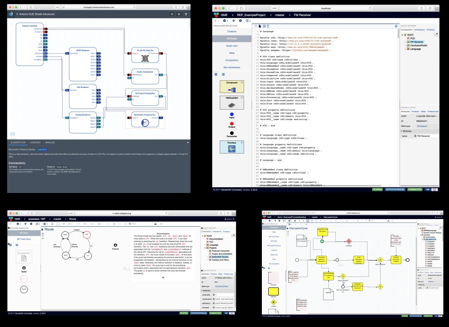 Four webgme-based applications. clockwise, from top left: metamorphosys circuit designer (metamorph), live rdf editor (metamorph, vanderbilt), business process modeling language (vanderbilt), bip (vanderbilt)