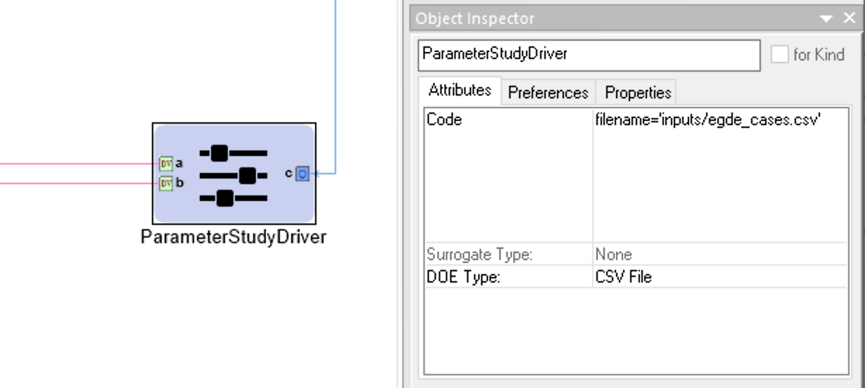 Configuration for a Parameter Study Driver with a CSV File DOE Type