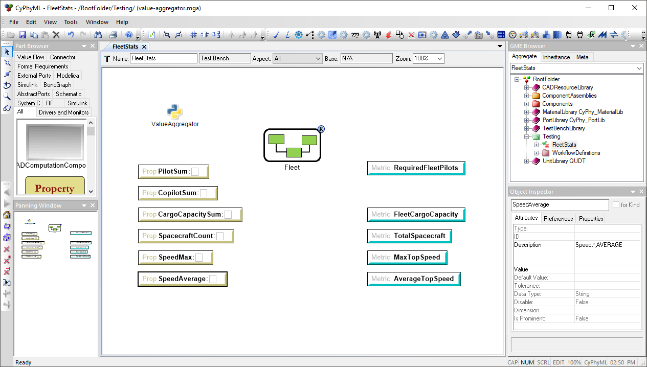 Test Bench using the Value Aggregator to Extract Values from the Model