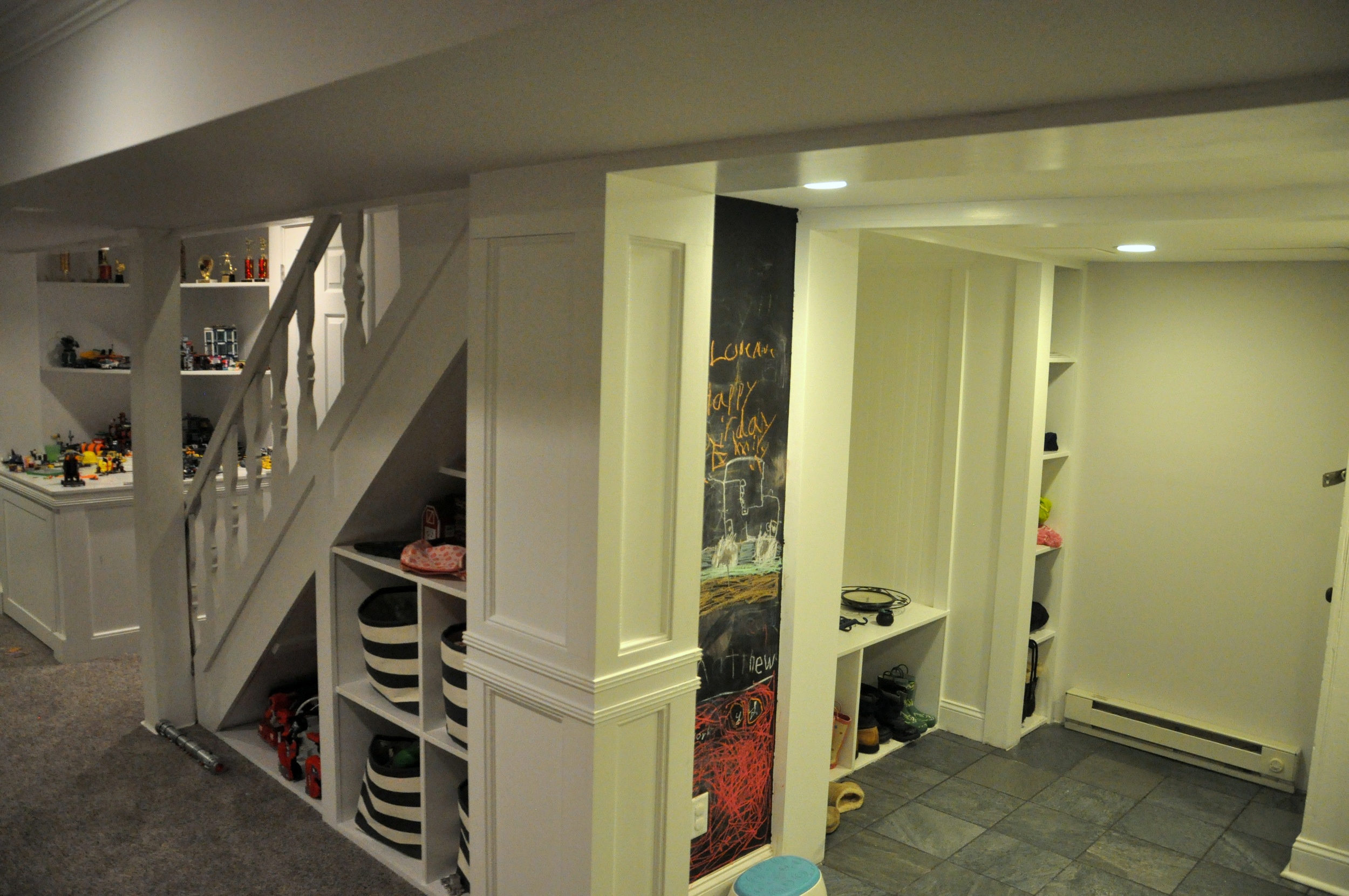 Finished stairs with adjoining mudroom