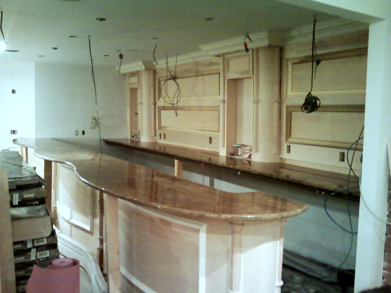 Bar in progress with granite top