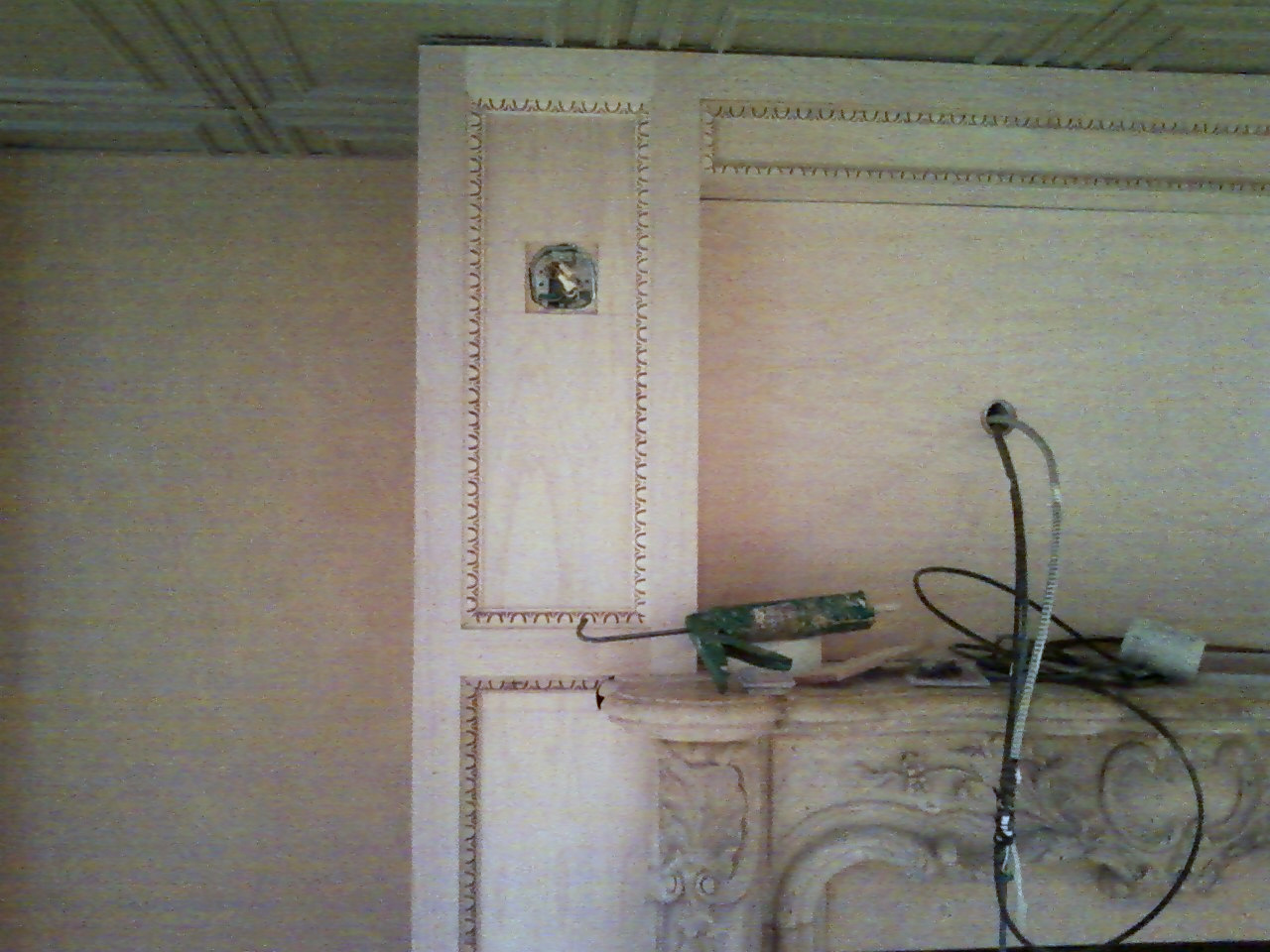 Lounge area custom fire mantel