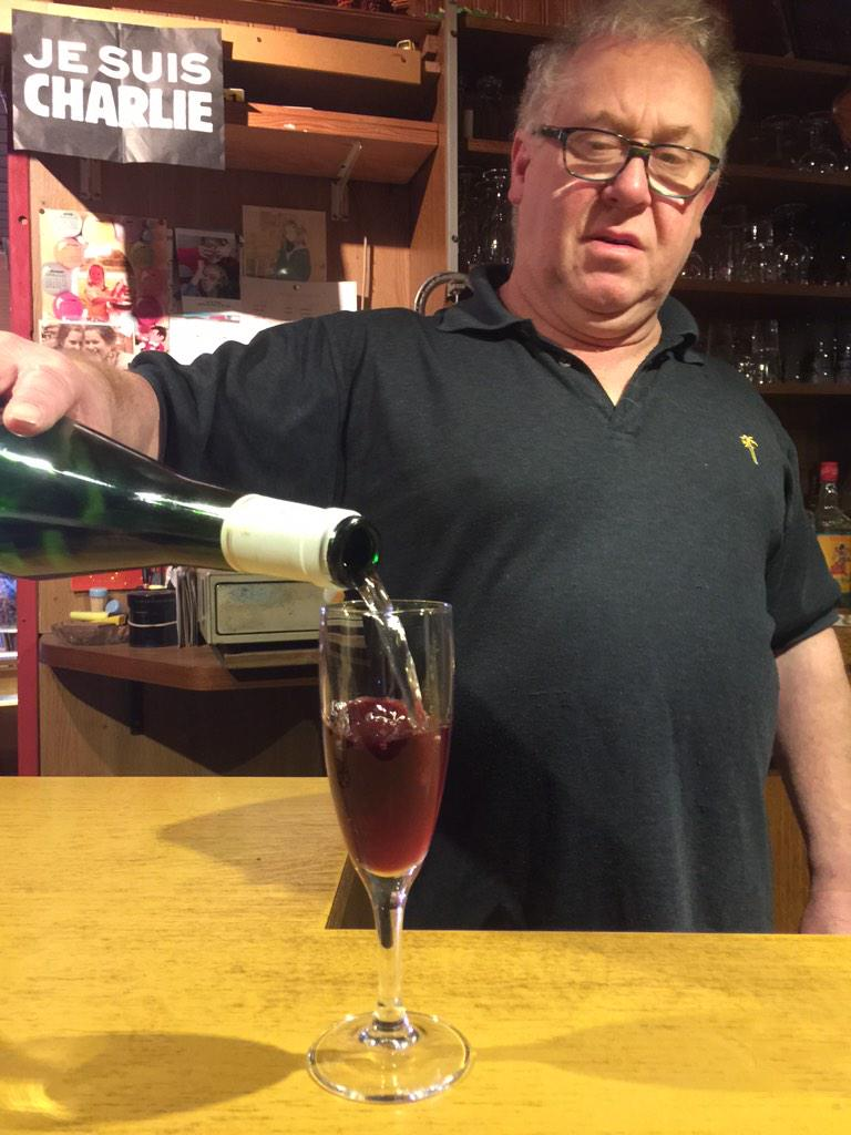 This is a Kir, which we don't talk about in this episode. But this is the guy who poured the Picon biere, so it's what we're going with.