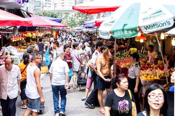 Busy Market in Hong Kong. Image via Sheila Dee