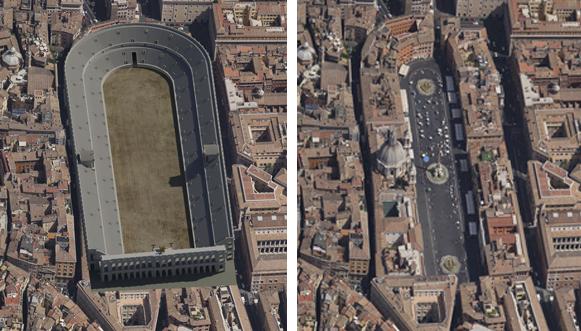 Stadio di Domiziano, ricostruzione e confronto con l'attuale piazza Navona