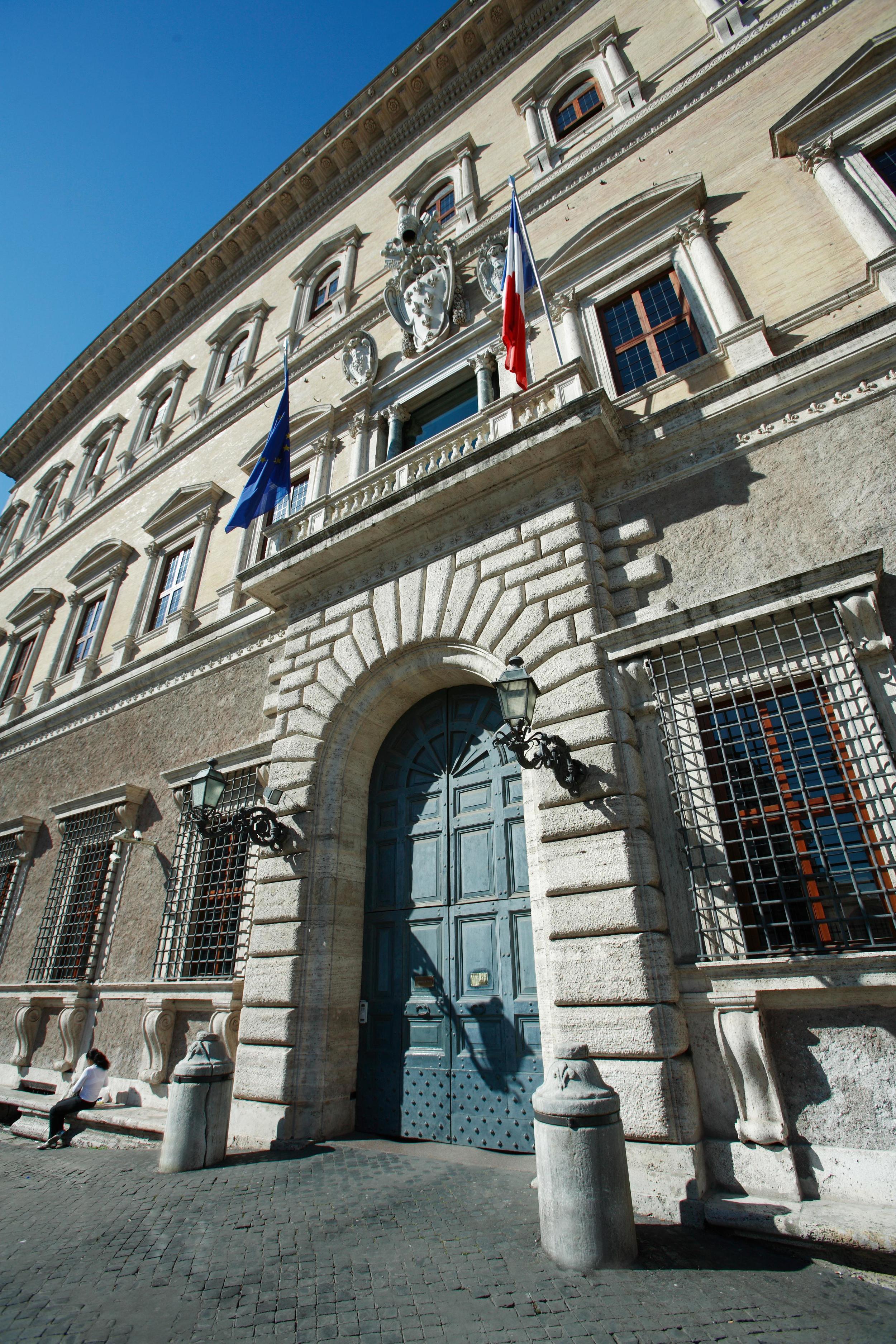 Dettaglio dell'ingresso dell'EFR in Palazzo Farnese