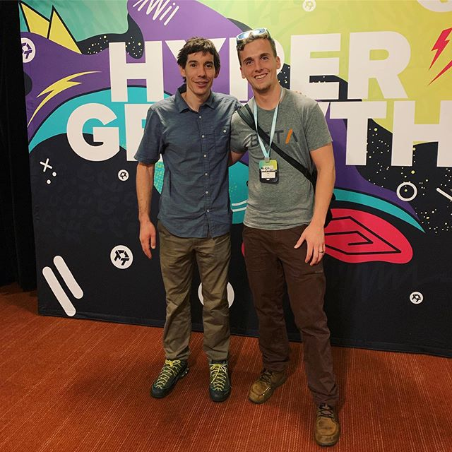 Me: so there is some hype that climbing on the moon/mars will be awesome... @AlexHonnold: It might be too easy, but I'm an enthusiast, I'd definitely go!  Me: heck yeah!  @AlexHonnold: see you on Mars 🙂  #Hypergrowth19 #trueStory #freeSolo #alexHonnold @drift