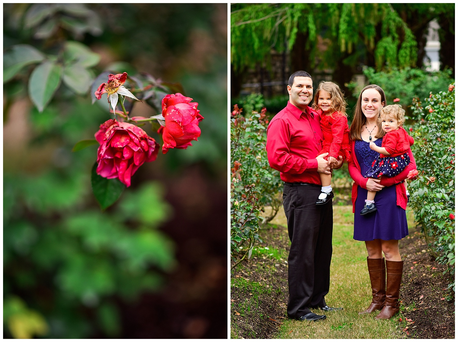 family of 4 at the raleigh rose garden