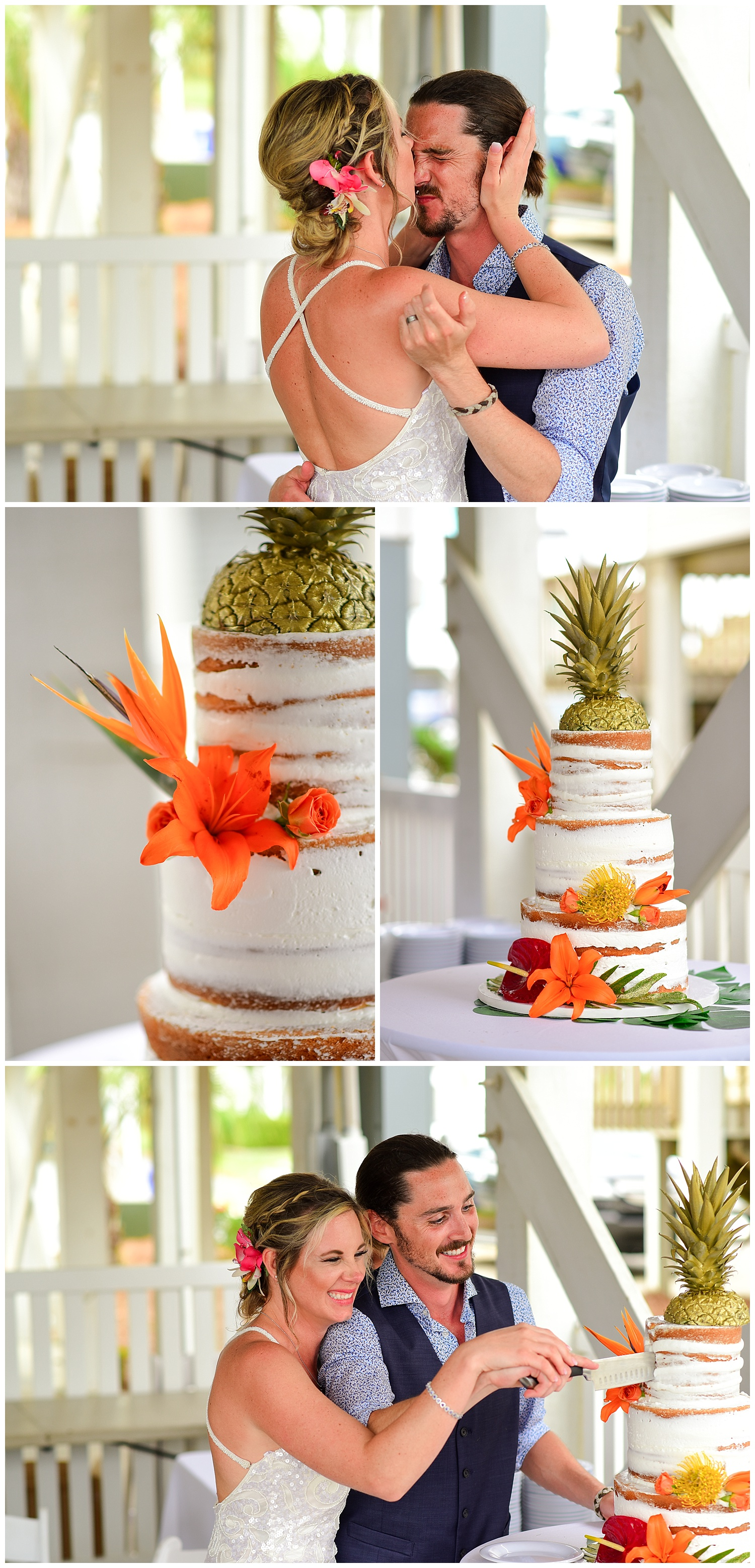 beach wedding cake cutting