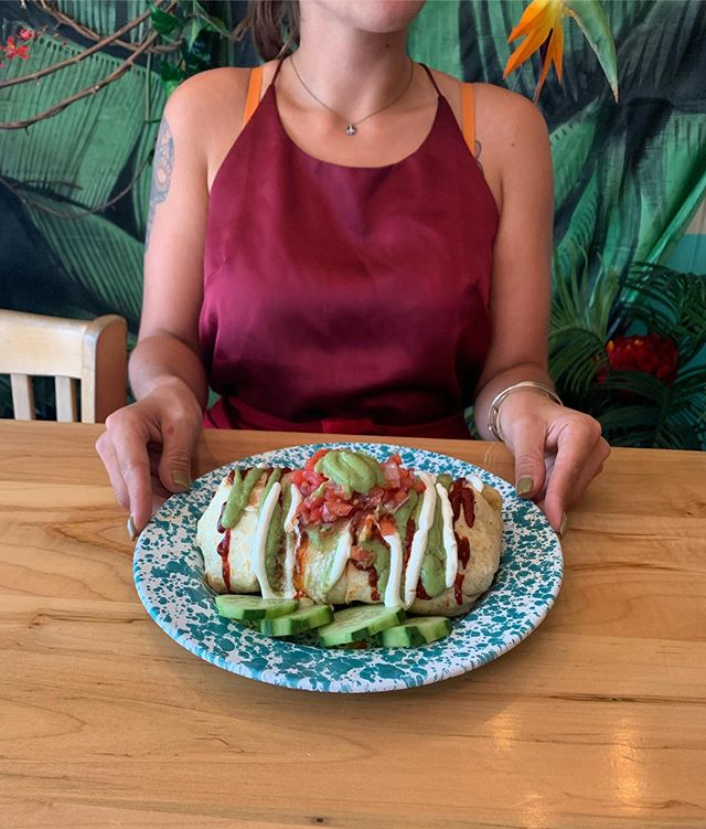 Come in and try our Tijuana burrito special — STUFFED w/ chicken seasoned with cayenne pepper & lemon juice, rice & beans, cheese, roasted corn & romaine. Topped with crema, guajillo salsa, avocado salsa & pico de gallo. (SPICY!) $18