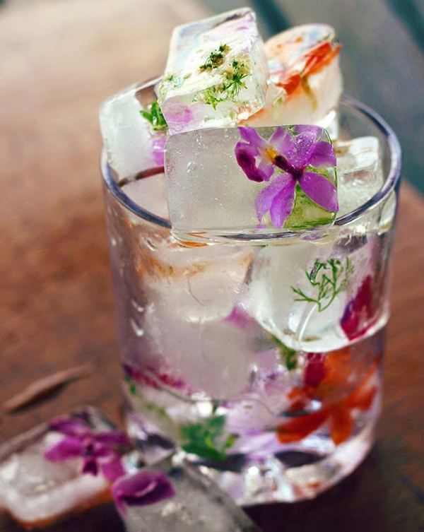 *Tip:  Freeze edible flowers, herbs and fruit in ice cubes to add to a non-alcoholic drink. How pretty would a few of these cubes in a flavored sparkling water look? Add some fresh squeezed citrus or a splash of juice and you've got yourself a a spring mocktail!  Cheers! Dena Designs