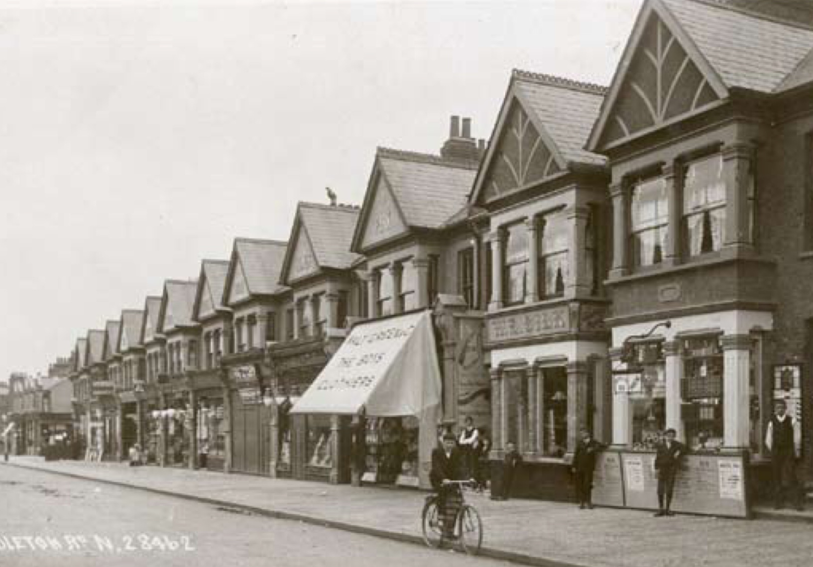 Myddleton Road in the 1900s, number 99 is the one with an awning