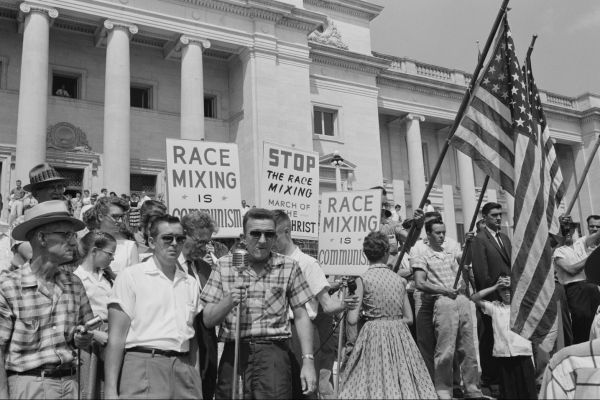 A rally against school integration in 1959. Don't be these people. Be better than these people.