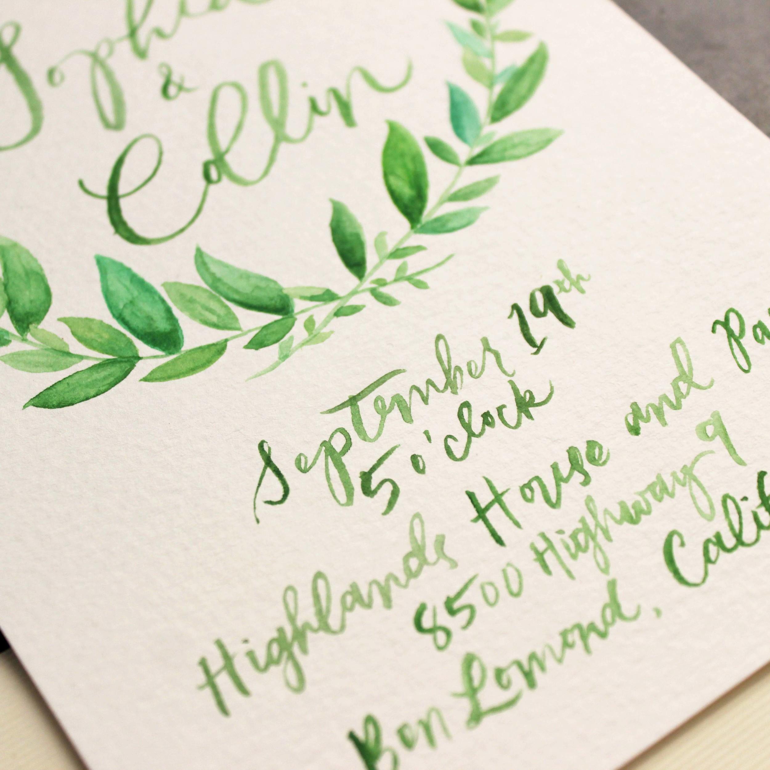 Watercolor Olive Leaf Wedding Invitations by Ashley Bush