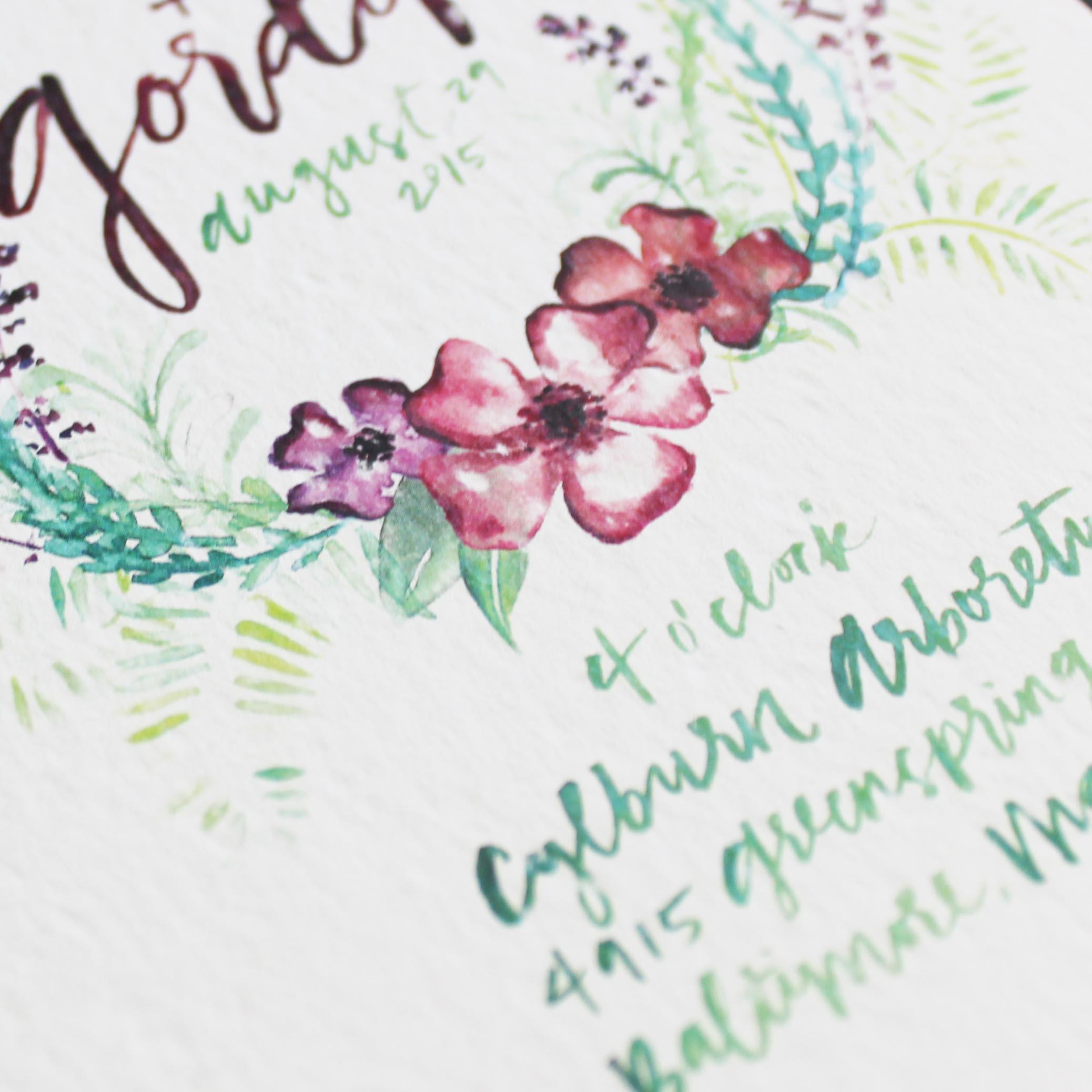 Watercolor Bohemian Floral Wedding Invitations by Ashley Bush